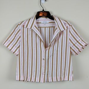 Frame Short Sleeve Button Striped Cropped Shirt S